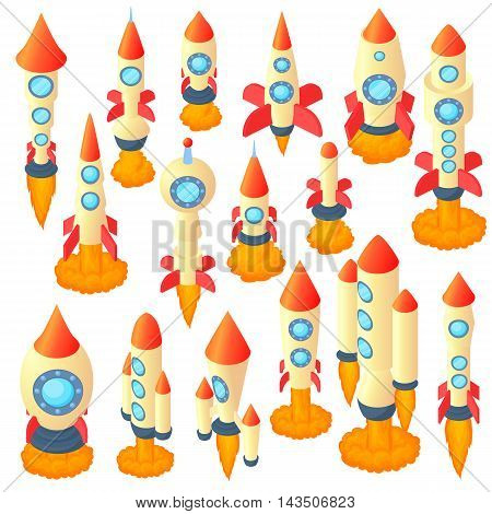 Rocket icons set in cartoon style. Spaceship set collection vector illustration