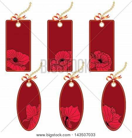 set of vector price tags with poppy