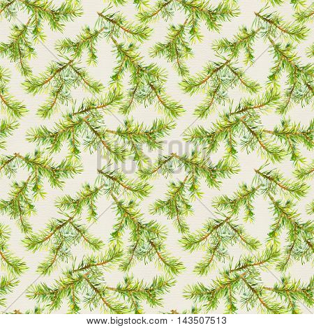 New year seamless pattern with naturalistic green branches of christmas tree