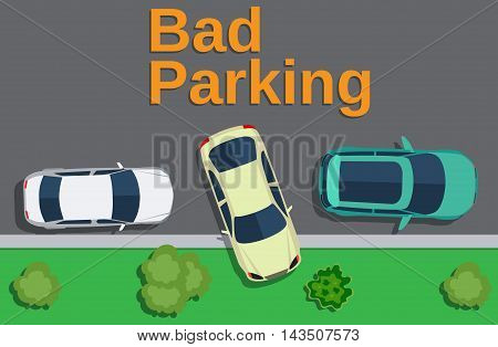 Bad parking. Top view of a car parked on the lawn with trees. Vector illustration in flat design