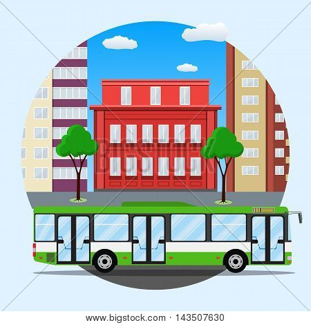 green city busin front of houses. Vector illustration in flat design