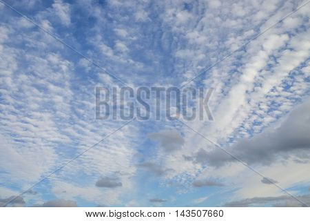 Variety of white and gray clouds streak across a blue sky