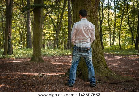 Standing man peeing near big tree in autumn forest in nature - incontinence concept