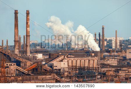 Industrial Landscape. Steel Factory. Heavy Industry In Europe