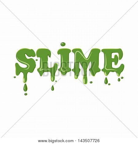 Slime word isolated on white background. Green slime word vector illustration