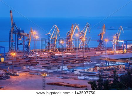 Sea Commercial Port At Night In Mariupol, Ukraine. Industrial Landscape