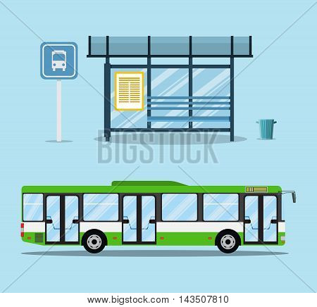 bus stop with seats and green city bus. vector illustration in flat design on light background