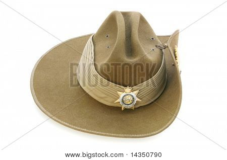 Australian Army slouch hat, isolated on white.