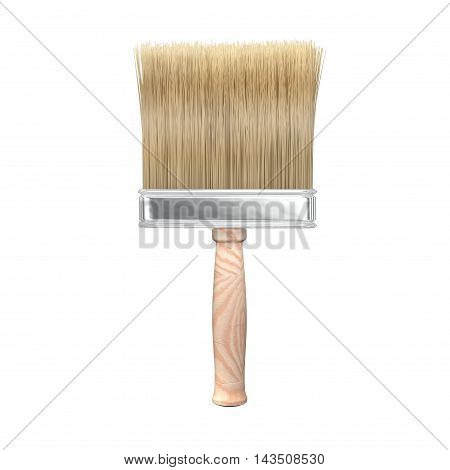Isolated paint brush with wooden handle. 3D Rendering