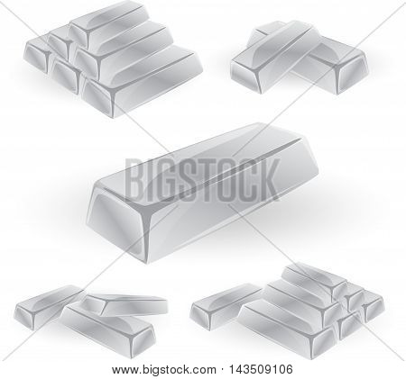Pile of shiny silver bars icon in isometric 3d style isolated on white background. Money and silver brick symbol
