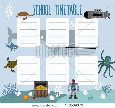 School schedule with underwater world. timetable Lesson plans all week. Shark and whale. Diver and turtle