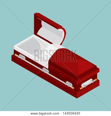 Open Coffin Isometrics. Wooden Casket For Burial. Red Hearse. Religious Illustration
