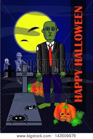 Vectorized illustration of cemetery zombie, ghosts, bats, pumpkins and spiders. Text Happy Halloween