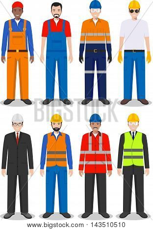 Detailed illustration of worker, builder and engineer in flat style on white background.