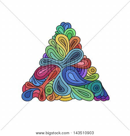 Wavy hipster triangle. Hand-drawn triangle composed from waves and curves on white background. Retro hipster colorful design template on white.