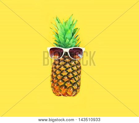 Pineapple With Sunglasses On Yellow Background Colorful Ananas
