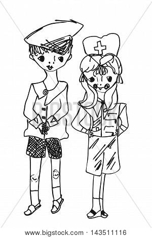 Childish drawing cartoon boy and girl. Little captain and the little doctor. Vector illustration.