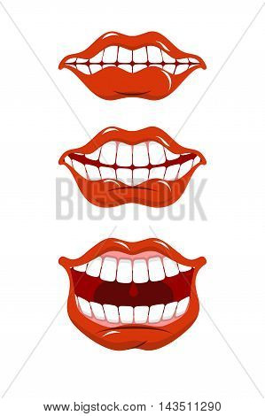 Smile Lips Set. Content Mouth Collection. Cheerful Red Lip And White Teeth. Pleased With Emotion