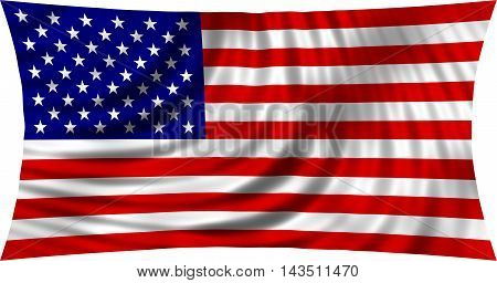 Flag of USA waving in wind isolated on white background. American national flag. Symbol of the United States. Patriotic US design. 3d rendered illustration