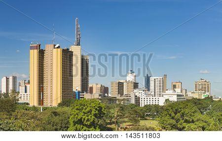 Nairobi Park And Skyscrapers Panorama, Kenya