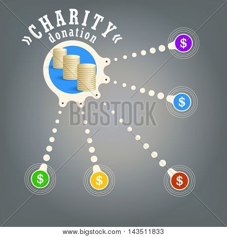 Vector circular object with theme of charity