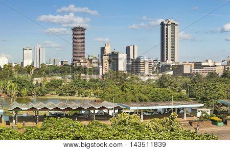 Nairobi Skyline And Uhuru Park, Kenya