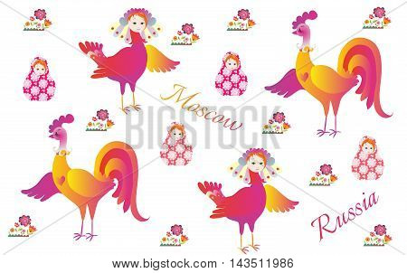Russian pattern with magic bird Sirin flowers rooster and matryoshka