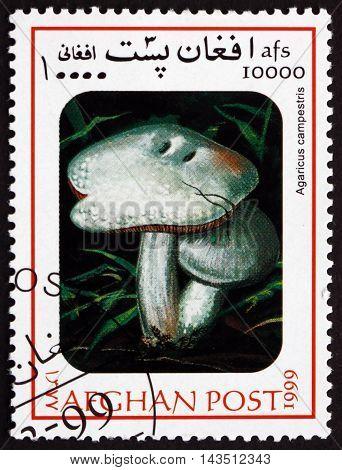 AFGHANISTAN - CIRCA 1999: a stamp printed in Afghanistan shows Field Mushroom Agaricus Campestris Mushroom circa 1999