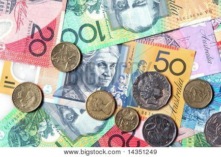 Full-frame of Australian notes and coins.