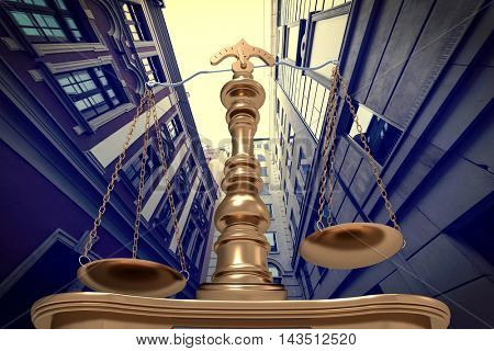 Gold scales of justice in court 3d illustration