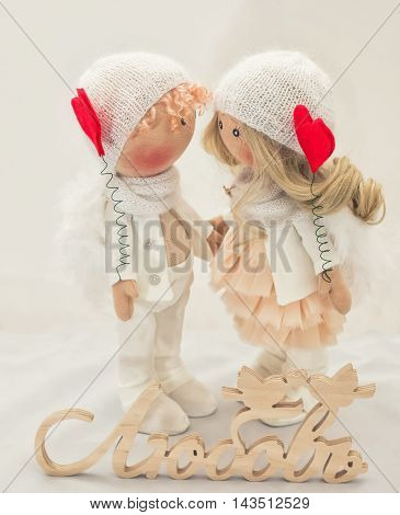 Textile Doll Handmade - A Couple Of Angels