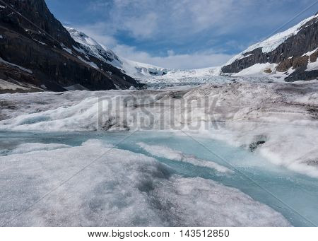 Stream Of Glacial Melt On Athabasca Glacier