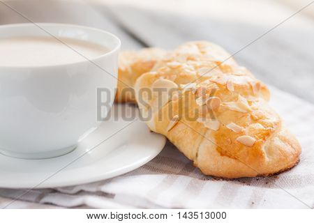 Two Croissant With Almonds And Cup Of Cappuccino