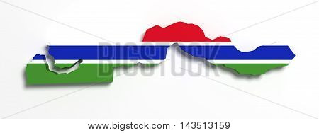 Silhouette Of Gambia Map With Flag
