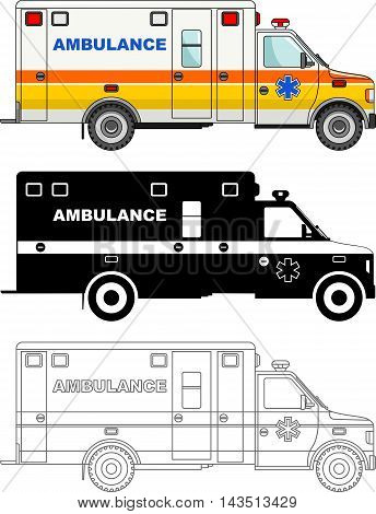 Detailed illustration of ambulance cars isolated on white background in flat style.