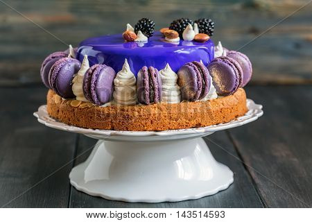 Mousse Cake With A Smooth Colored Glaze.