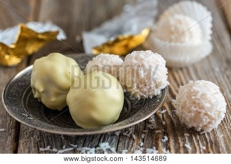 Handmade Truffles White Chocolate Closeup.