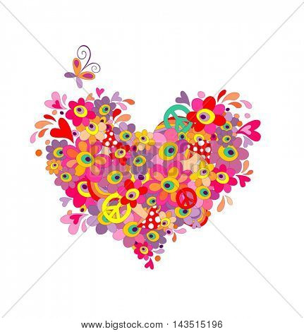 Hippie heart with abstract colorful flowers, mushrooms, peace symbol and rainbow
