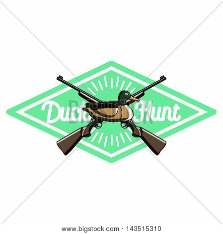 Color vintage hunting emblem on a white background isolated .