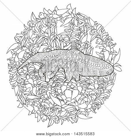 High detail patterned illustration in zen tangle style. Adult coloring page for antistress art therapy. Anteater with baby. Template for t-shirt, tattoo, poster or logo. Vector illustration.