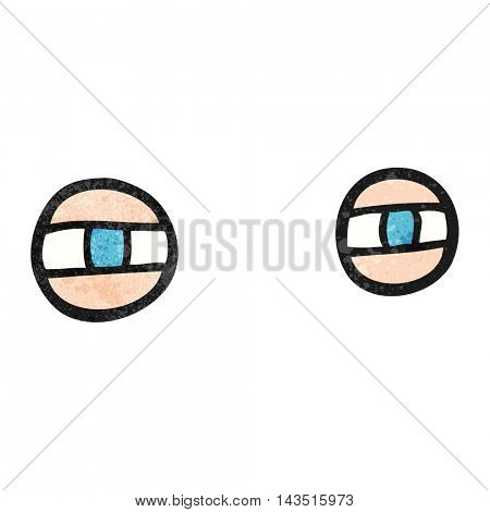 freehand textured cartoon scowling eyes
