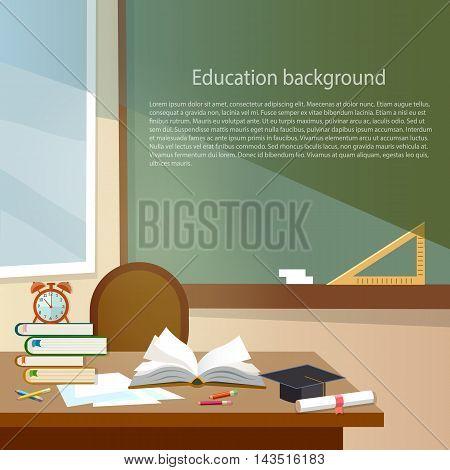 Education background classroom school education back to school concept vector illustration
