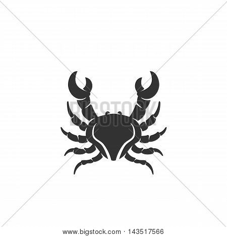 Crab logo silhouette design template isolated on a white background. Simple concept icon for web, mobile and infographics. Abstract symbol, sign, pictogram, illustration - stock vector