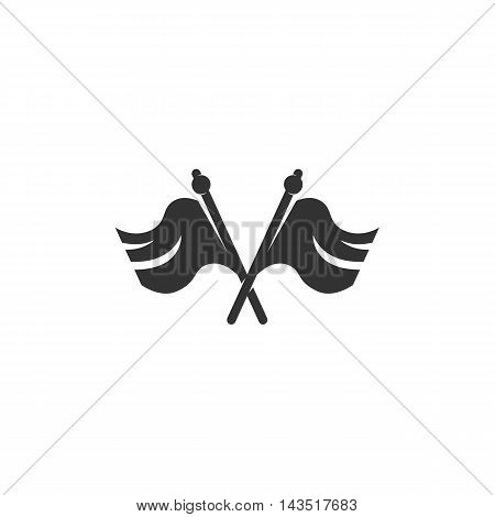 Cross flag logo silhouette design template isolated on a white background. Simple concept icon for web, mobile and infographics. Abstract symbol, sign, pictogram, illustration - stock vector