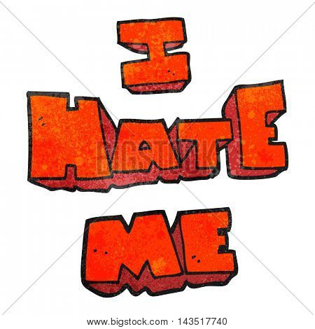 I hate me freehand textured cartoon symbol