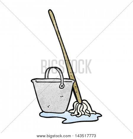 freehand textured cartoon mop and bucket
