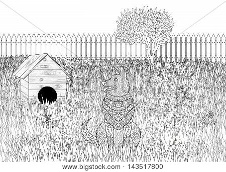High detail patterned German shepherd on detailed background in zentangle style. Adult coloring page with dog for antistress art therapy. Zendoodle colouring book. Vector