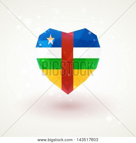 Flag of Central African Republic in shape of diamond glass heart in triangulation style for info graphics, greeting card, celebration of Independence Day, printed materials