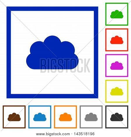 Set of color square framed cloud flat icons
