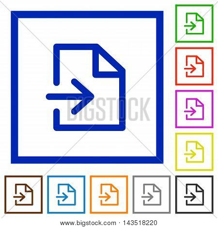 Set of color square framed import flat icons